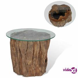 vidaXL Sohvapöytä tiikki lasi 50x40 cm