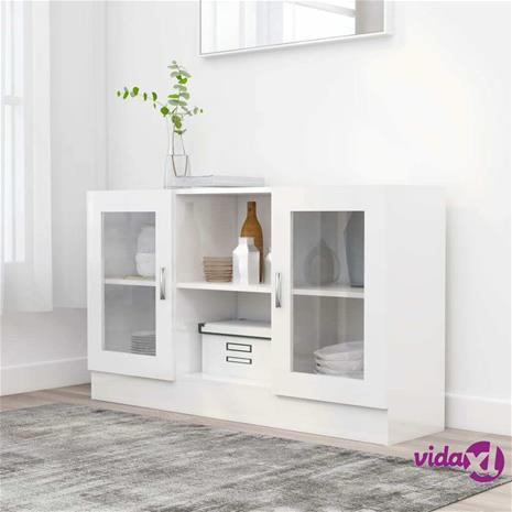vidaXL Vitriinikaappi korkeakiilto valkoinen 120x30,5x70 cm lastulevy