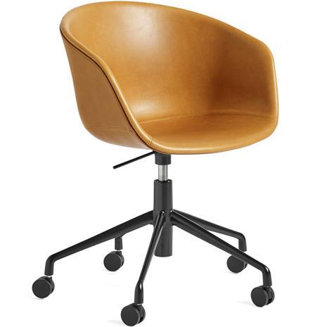 Hay Hay-AAC53 chair, Black 5 star swivel, Silk Cognac