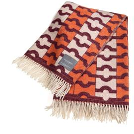 Stackelbergs Stackelbergs-Wallpaper Blanket 140x180 cm, Orange / Bordeaux / Offwhite Jaquard