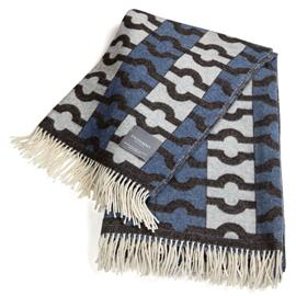 Stackelbergs Stackelbergs-Wallpaper Blanket 140x180 cm, Blue / Brown / White Jaquard