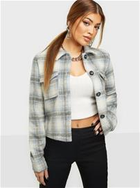 Only Onllou Short Check Jacket Cc Otw Pumice Stone Allure