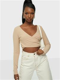 NLY Trend Criss Cross Cropped Top Beige