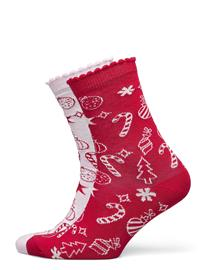 Hunkemöller 2p Cotton Christmas Candy Socks Lingerie Socks Regular Socks Punainen Hunkemöller PINK