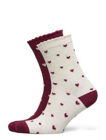Hunkemöller 2p Cotton Christmas Heart Socks Lingerie Socks Regular Socks Valkoinen Hunkemöller GREEN