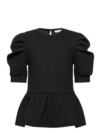 name it Nkfsilya 2/4 Top T-shirts Short-sleeved Musta Name It BLACK