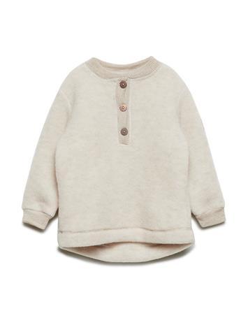 Mikk-Line Wool Baby Pullover Outerwear Fleece Outerwear Beige Mikk-Line 429/MELANGEOFFWHITE