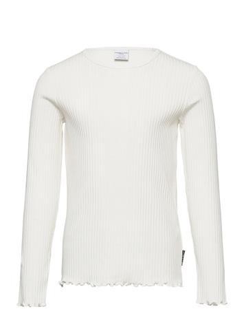 Polarn O. Pyret Top L/S Solid Rib School T-shirts Long-sleeved T-shirts Valkoinen Polarn O. Pyret EGRET