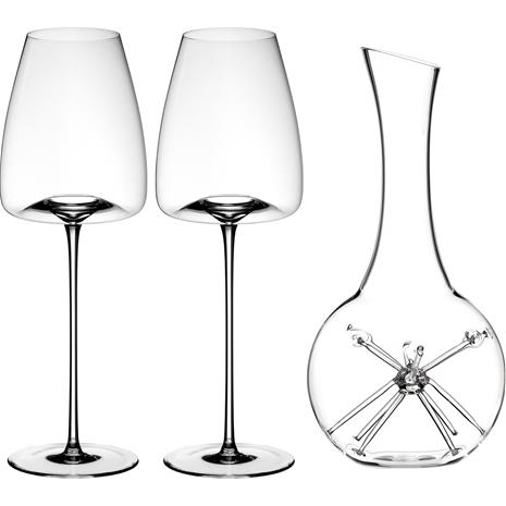 Zieher Star Mini Decanter and two Vision Straight Wine Glasses