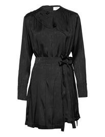 Victoria Victoria Beckham Pleated Silk Blend Jacquard Dress Lyhyt Mekko Musta Victoria Victoria Beckham BLACK