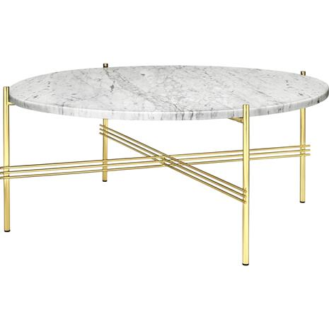 Gubi Gubi-TS Kahvipöytä ä˜80 cm, Messinkinen / Valkoinen Travertiini
