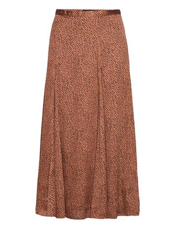 Banana Republic Satin Godet Midi Skirt Polvipituinen Hame Ruskea Banana Republic CAMEL/ANIMAL PRINT