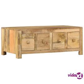 vidaXL Sohvapöytä 4 vetolaatikolla 90x50x35 cm täysi mangopuu
