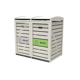 Green Land 102386396 2 x 240L valkoinen, jäteastiasuoja