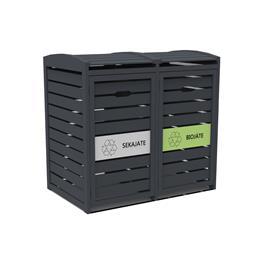 Green Land 102386400 2 x 240L tummanharmaa, jäteastiasuoja