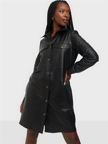 Y.A.S Yasbelma Ls Leather Shirt Dress