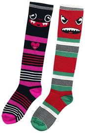 Dark World - 2er Pack Monster Gestreifte Socken - Käsisuojat - Naiset - Monivärinen