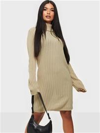 Parisian Rib Knit Roll Neck Jumper Dress