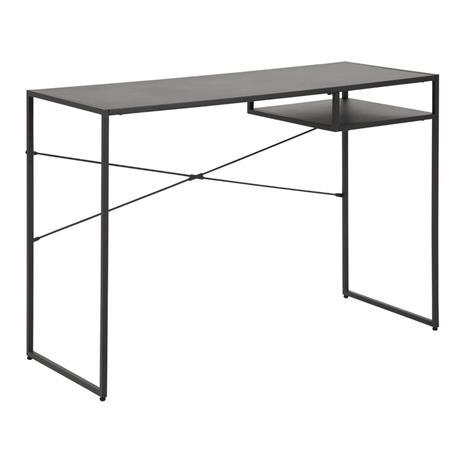 Työpöytä NEWCASTLE 110x45xH75cm, hylly, pöytälevy: musta metalli, runko: musta
