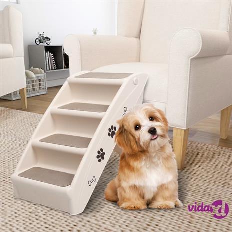vidaXL Taitettavat koiran portaat kerma 62x40x49,5 cm
