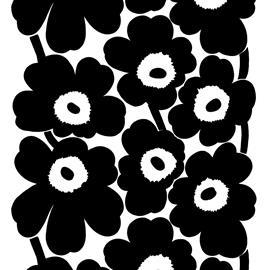 Marimekko Unikko kangas Musta-valkoinen