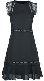 Black Premium by EMP - Musta mekko rengasniiteillä ja pitsikoristeilla - Keskipitkä mekko - Naiset - Musta