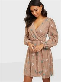 Maya All Over Embroidered Long Sleeve Wrap Mini