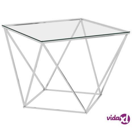 vidaXL Sohvapöytä hopea 80x80x45 cm ruostumaton teräs