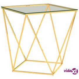 vidaXL Sohvapöytä kulta ja läpinäkyvä 50x50x55 cm ruostumaton teräs