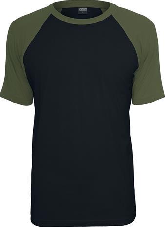 Urban Classics - Raglan Contrast Tee T-paita - T-paita - Miehet - Musta oliivinvihreä, Miesten paidat, puserot ja neuleet