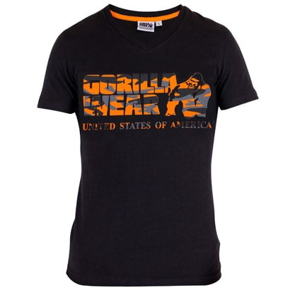Gorilla Wear Sacramento V-Neck Tee Black/Orange