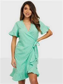 Vero Moda Vmhenna 2/4 Wrap Frill Dress Exp Ga Jade Cream Loula