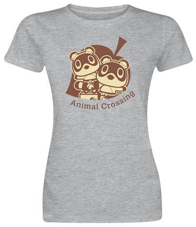 Animal Crossing - Nepp und Schlepp - T-paita - Naiset - Sävytetty harmaa, Naisten paidat, puserot, topit, neuleet ja jakut
