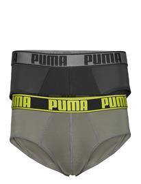PUMA Puma Active Brief 2p Packed Y-sepalus Briefs Alushousut Harmaa PUMA GREY YELLOW