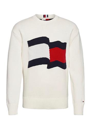 Tommy Hilfiger Big Graphic Sweater Neulepaita Pyöreä Kaula-aukko Valkoinen Tommy Hilfiger IVORY