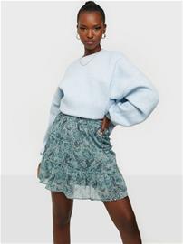 Jacqueline de Yong Jdylinda Short Skirt Wvn Blue Surf Mini Flowers & Leaves