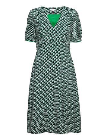 Tommy Hilfiger Vis Poplin F&F Knee Dress Ss Dresses Everyday Dresses Vihreä Tommy Hilfiger COURT SIDE GEO / PRIMARY GREEN