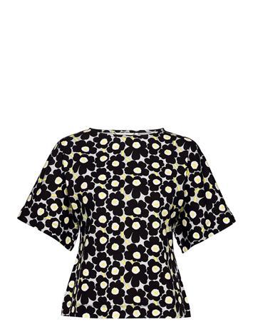 Marimekko Kyse Unikko 128 Shirt Blouses Short-sleeved Musta Marimekko BEIGE, BLACK, YELLOW