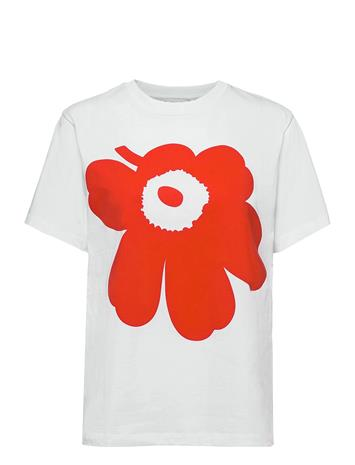 Marimekko Liuske Unikko Placement T-Shirt T-shirts & Tops Short-sleeved Valkoinen Marimekko WHITE, ORANGE