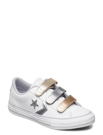Converse Star Player 3v Ox White/Gravel/Metallic Matalavartiset Sneakerit Tennarit Valkoinen Converse WHITE/GRAVEL/METALLIC