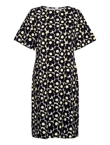 Marimekko Kollineaari Unikko 128 Dress Dresses T-shirt Dresses Musta Marimekko BEIGE, BLACK, YELLOW