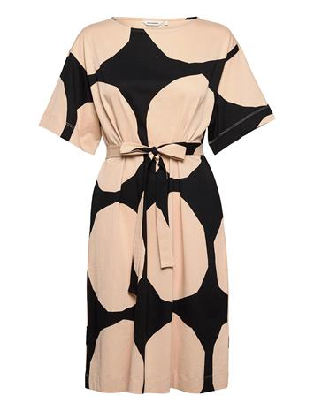 Marimekko Kollineaari Kivet Dress Polvipituinen Mekko Musta Marimekko BLACK, BEIGE