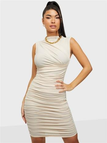 NLY One Rib Pleated Dress Valkoinen
