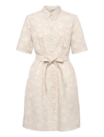 Marimekko Palsta Mini Unikko Dress Dresses Shirt Dresses Kermanvärinen Marimekko BEIGE, OFF-WHITE