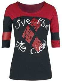 Suicide Squad - Live Fast Die Clown - Pitkähihainen paita - Naiset - Musta punainen