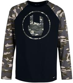 EMP Stage Collection - Schwarzes Langarmshirt mit Rockhand-Print und Raglanärmeln - Pitkähihainen paita - Miehet - Musta, Miesten paidat, puserot ja neuleet