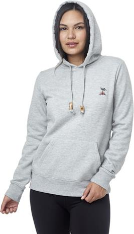 tentree Palm Sunset Embroidery Hoodie Women, hi rise grey heather