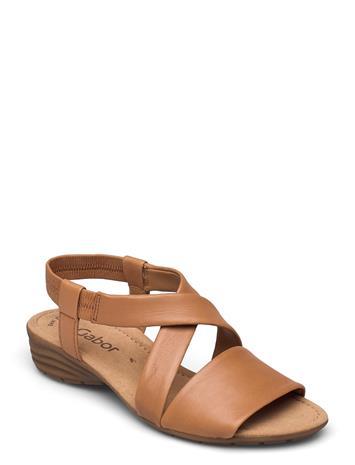 Gabor Ankle-Stap Sandal Shoes Summer Shoes Flat Sandals Beige Gabor BEIGE