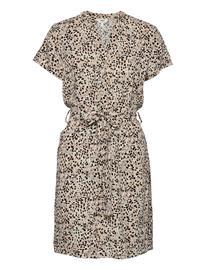Object Objhessa Birdy S/S Shirt Dress 114 .C Lyhyt Mekko Harmaa Object SANDSHELL