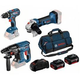 Bosch Akkukonesarja (0615990M0V) 18V 2x4,0Ah, GSR 18V-28 + GBH 18V-21 + GDX 18V-180